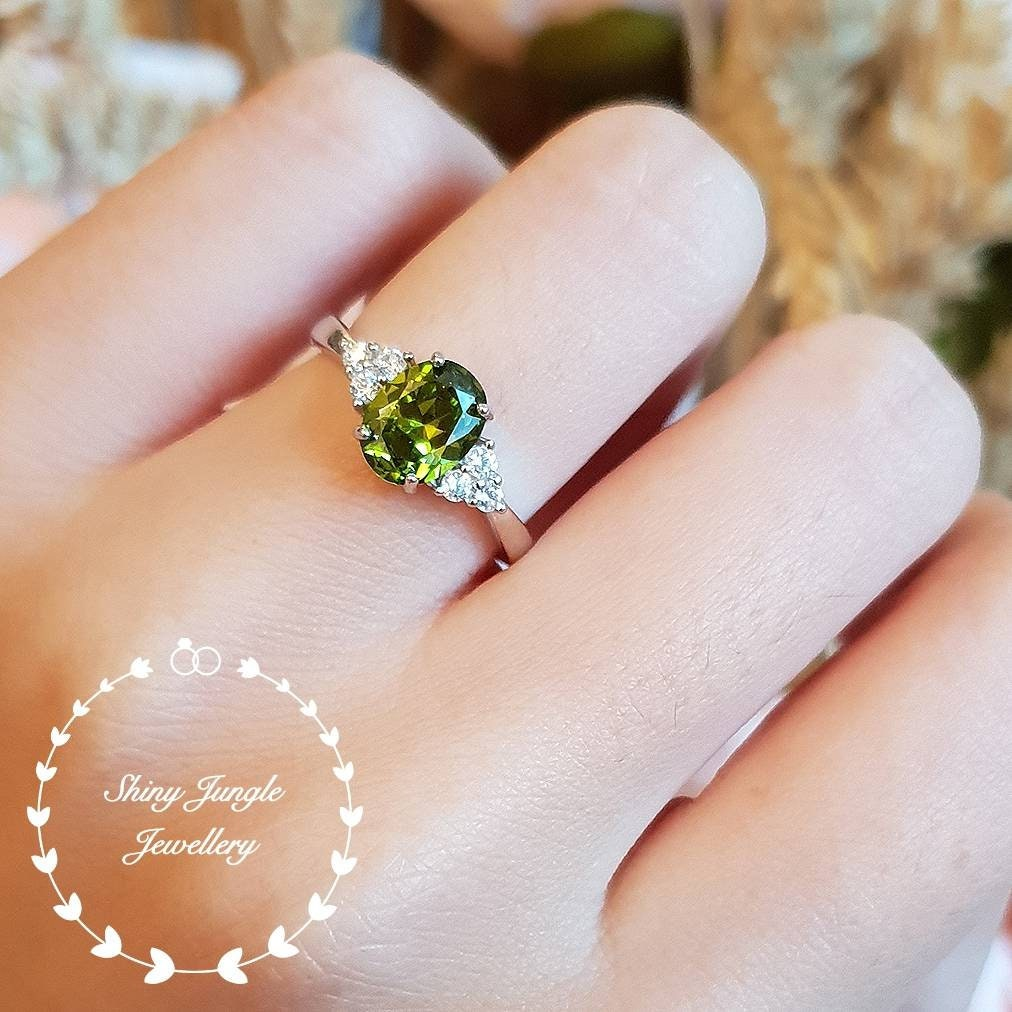 Pear Cut Ring Engagement Ring August Birthstone Gift Her Solitaire Ring Natural Gemstone Peridot Ring Peridot Gemstone Wedding Ring