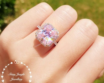 Fancy Vivid Pink diamond simulant engagement ring, halo ring, white gold plated sterling silver, statement ring, 6 carats radiant cut