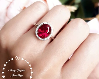 Modern Halo Ruby Engagement Ring, 3 carats 8×10 mm Oval Cut Genuine Lab Grown Pigeons Blood Ruby, Red Gemstone Ring, July Birthstone Gift