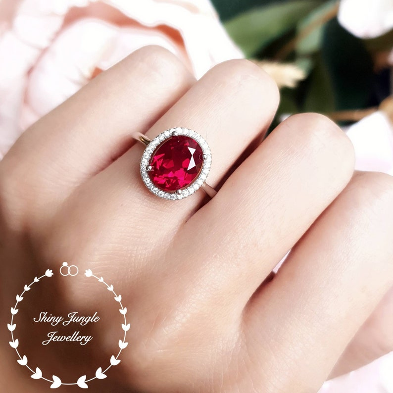 Modern Halo Ruby Engagement Ring 3 carats 810 mm Oval Cut image 0