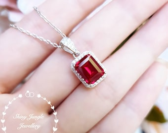 Emerald cut Genuine lab grown Pigeon's Blood Ruby necklace, 3 carats 7×9 mm emerald cut ruby with halo desige, white/rose gold plated silver