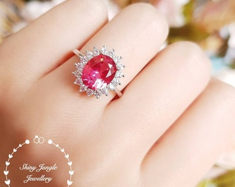 Rare Genuine Lab Grown Padparadscha Sapphire Halo Engagement ring, Oval 8*10 Sunset Orangy Pink Sapphire September Birthstone Statement Ring