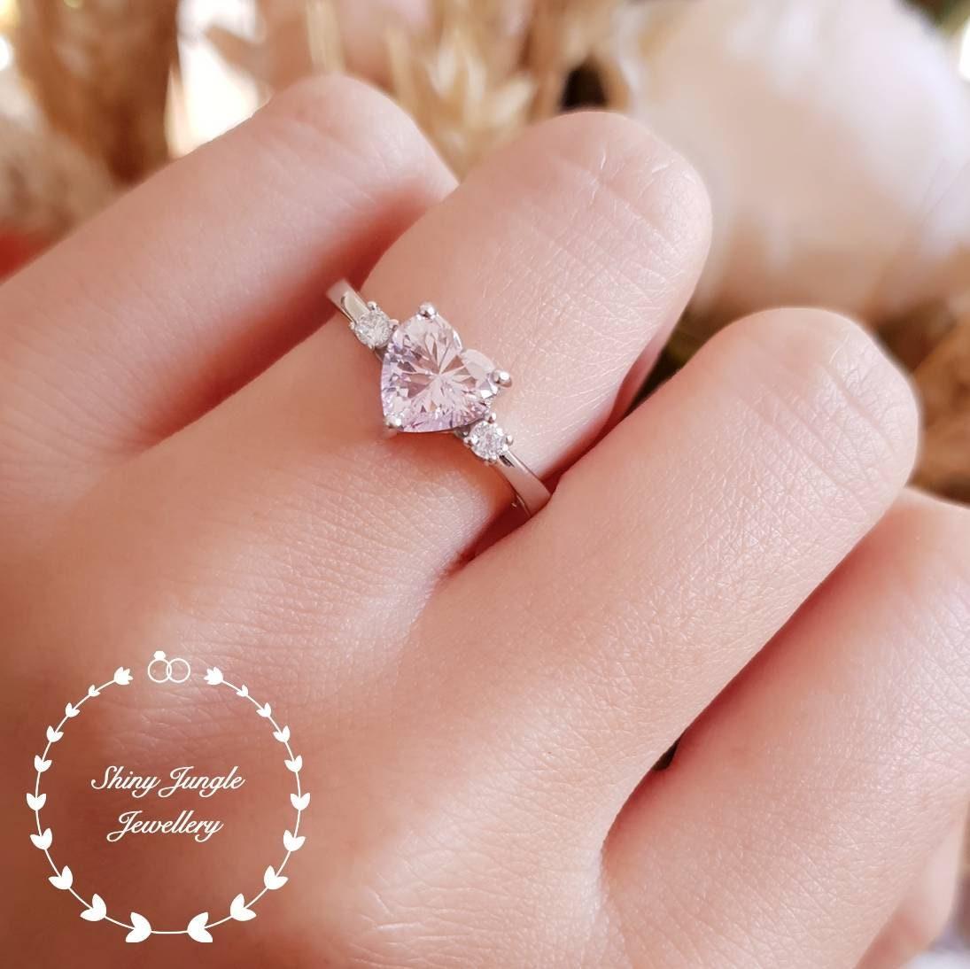 Heart Shaped Pink Diamond Ring Pink Diamond Simulant Engagement