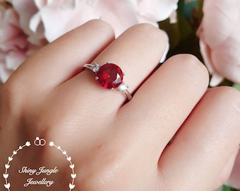 Round three stone genuine lab grown ruby engagement ring, July Birthstone promise ring, ruby trilogy ring, white/rose gold plated silver