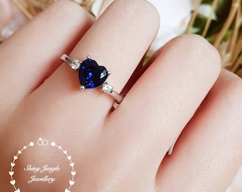 Genuine Lab Grown Heart Shaped Royal Blue Sapphire Engagement Ring, 8 mm Heart Cut Sapphire Trilogy Three Stone Ring, September Birthstone