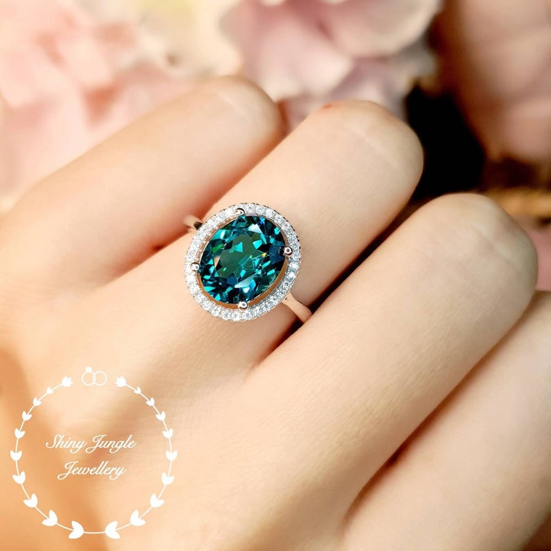 Modern halo Indicolite tourmaline ring 3 carats 810 mm oval image 0