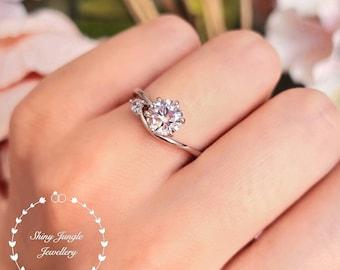 Diamond Engagement Ring, Curved Band 6 Prong Diamond Ring, Round Brilliant Cut 1 Carat 6mm Diamond Simulant Promise Ring, April Birthstone