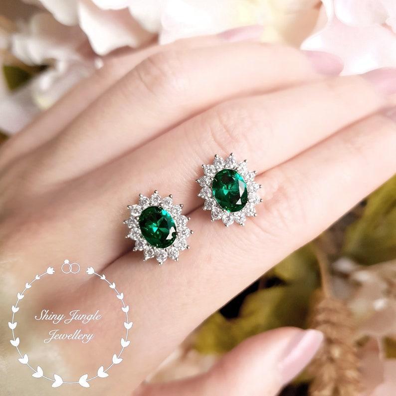 Halo Oval Emerald Stud Earrings Muzo Green Emerald Earrings image 0