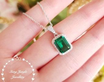 Halo Emerald cut Emerald pendant, Muzo green lab emerald necklace with chain, May birthstone pendant, rectangular green stone pendant