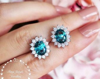 Indicolite Tourmaline Halo Earrings, Teal Bluish Green Tourmaline Earrings, Teal Bridal Earrings, Oval Tourmaline Earrings, Cluster Earrings