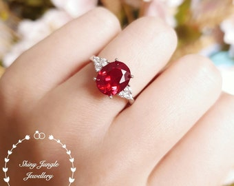 Oval genuine lab grown ruby engagement ring, July Birthstone promise ring, three stone design, white/rose gold plated sterling silver