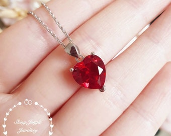 Ruby Necklace, 10*10 mm Heart cut Genuine Lab Grown Pigeons Blood Ruby pendant, July Birthstone necklace gift, red heart solitaire pendant