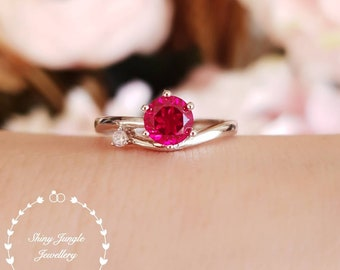Dainty round cut genuine lab grown ruby ring, wavy ring, July Birthstone promise ring, white gold plated silver, delicate red gemstone ring