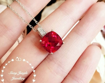 Cushion cut genuine lab grown Ruby necklace, July birthstone pendant gift, square ruby pendant, white/rose gold plated sterling silver