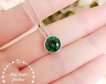 2 Carats 8mm Round Emerald Solitaire Necklace, Classic Bezel Set Round Emerald Pendant, May birthstone pendant, Green Gemstone Pendant
