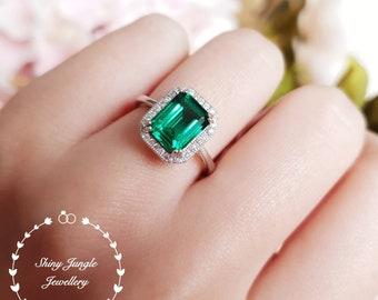 Halo emerald cut emerald engagement ring, vivid green emerald ring, green gemstone ring, rectangular ring, white/rose gold plated silver