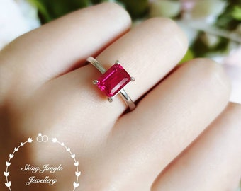 Emerald cut genuine lab grown ruby engagement ring, rectangular ruby solitaire ring, white gold plated sterling silver, red gemstone ring