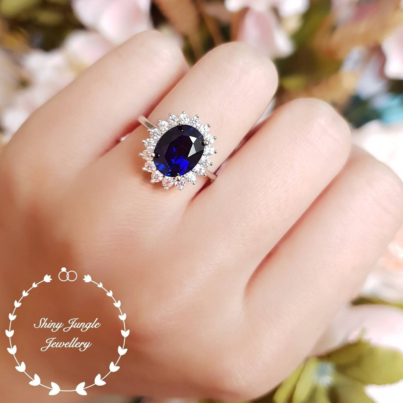 Genuine Blue Sapphire /& Diamond Ring Set in Yellow Gold Plated Silver