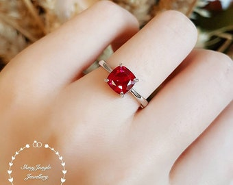 Cushion cut genuine lab grown ruby promise ring, delicate July birthstone gift, white gold plated sterling silver, square red gemstone ring