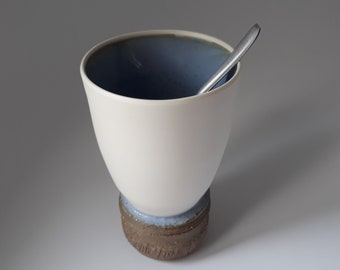 White and Blue Handmade pottery, Porcelain and Stoneware, Tea Cup, Yunomi, Unique Decorative Ceramic art, Made in France