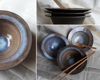 Trio Bowls, Black Clay, Stoneware, Culinary art, Decorative, Ceramic, Tondino Style, handmade, wheel-thrown
