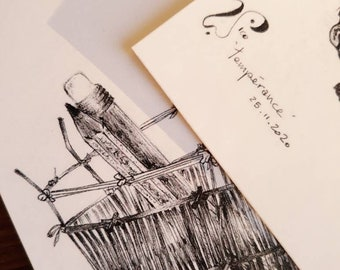 rare postcards original french artist drawings limited edition 2020 inspired by basketry art craft