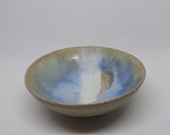 tiny white blue condiment bowl, sauce cup, ring cup, wedding gift, tableware, handmade, wheelthrown, pottery, ceramic, asian food,