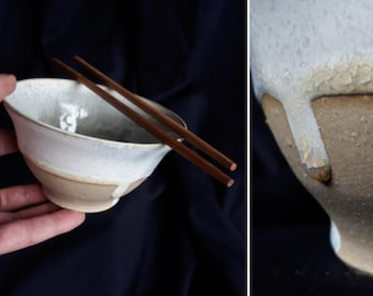 Stoneware Bowl, Pottery, Handmade, Thrown, Coffee, Matcha, Rice, Miso, Deeps, Decorative Effect, Enameled Clay, Amber drops
