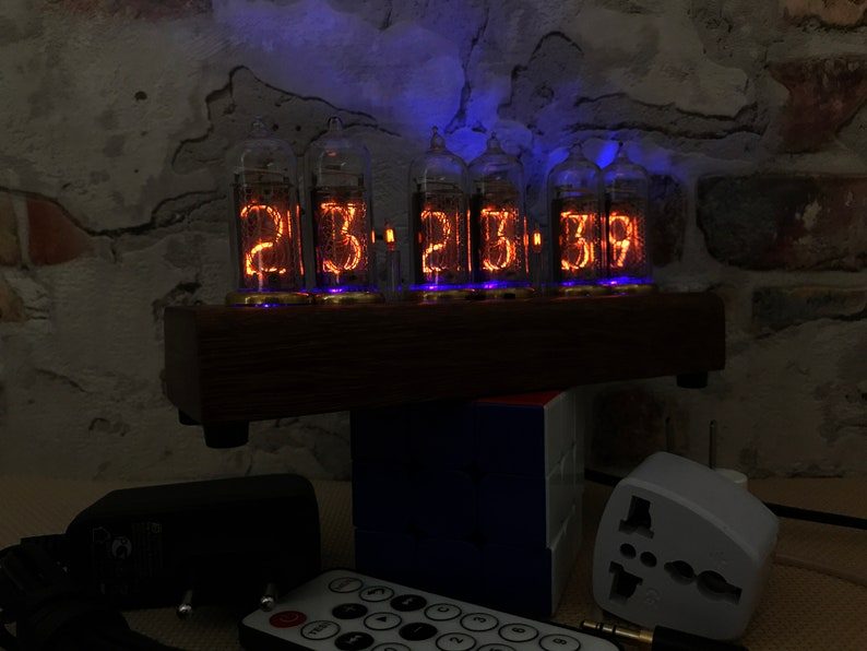 Nixie Clock IN-14 Full *Natural wood*