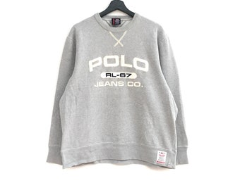eca15b95fcc POLO JEANS Company RL-67 Embroidery BigLogo Men Clothing Sweatshirt Jumper Polo  Ralph Lauren Stadium Grey Colour medium size