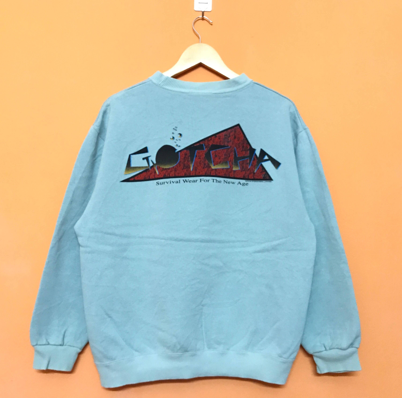 Vintage 90's GOTCHA Survival Wear For The New Age Biglogo Surfwear Sweatshirt Pullover Jumper Medium Size OX217eKch9