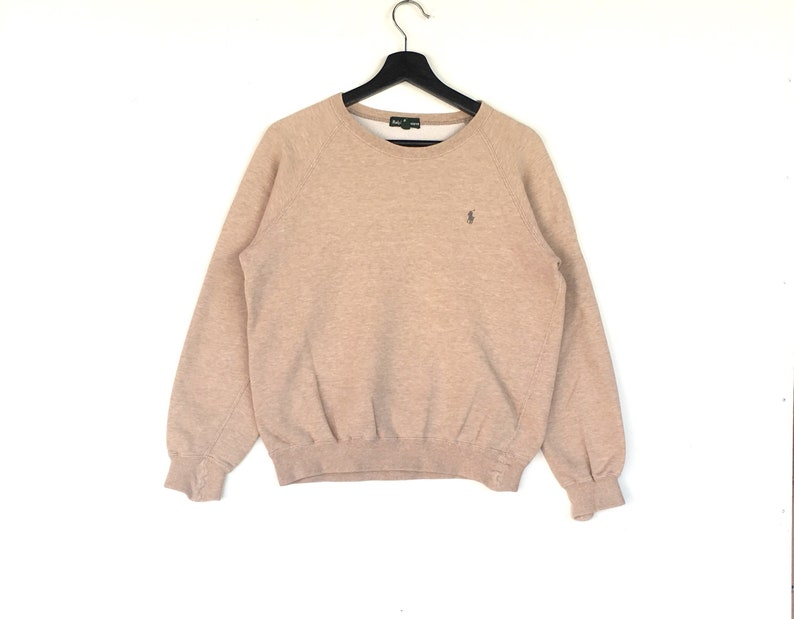 Pony RarePolo Ralph Jumper Light Brown Colour Clothing Pullover Lauren Small Men Fits Embroidery Sweatshirt nwO0kP8
