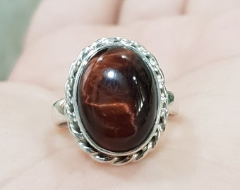 27.70 Cts Red Tiger/'s Eye 925 Sterling Silver Ring Size 7 Oval Shape  R12704