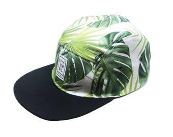Palmtree - Handmade 5 panel camper hat - Organic Cotton