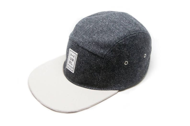 Black Wool & Stone Twill  Handmade 5 panel camper hat  image 0