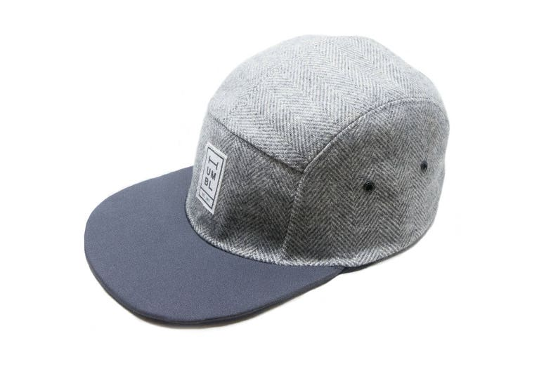 Gray Wool & Charcoal Blue Twill  Handmade 5 panel camper hat image 0