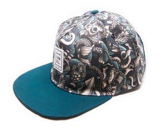 Seamonsters - Handmade 5 panel baseball hat - Organic Cotton