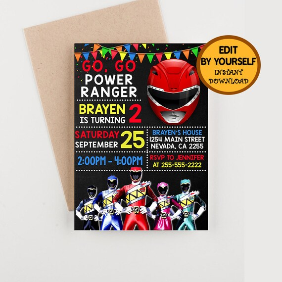 Go Power Rangers Invitation Birthday Ranger Party Printable Invitations