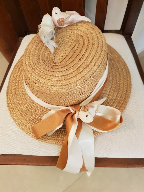 Vintage 1960's Women's Straw Hat,Felt women's Fed… - image 2
