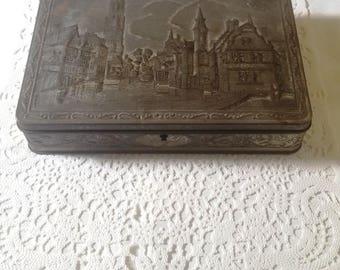 Antique vintage Tin  Brugge chocolates Box Original G.B.C. container, From Belgium