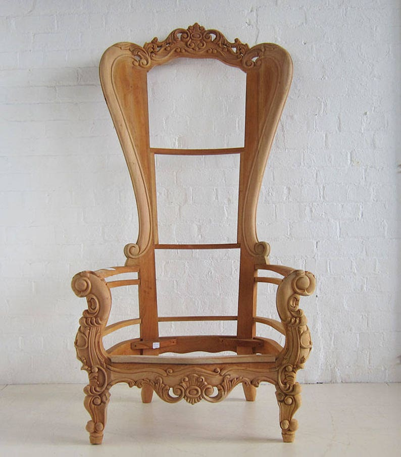 Admirable Baroque Throne Chair Frame Beutiful Home Inspiration Ommitmahrainfo