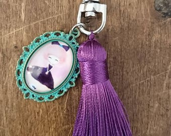 """Jewelry bags / keychain """"Des Coquettes"""" - green / purple"""