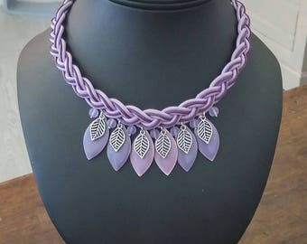 Purple braided necklace