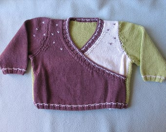 Heart-warming sweater for 12-month-old girl in handmade knit