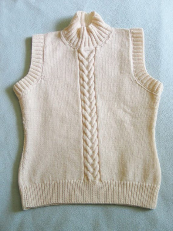 3a34c8c27d63 Funnel neck knit handmade ecru sleeveless sweater