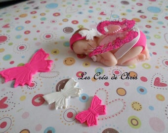 "baby girl or boy theme ""Butterfly"" polymer clay."