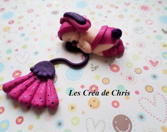 polymer clay girl baby dressed in rabbit.
