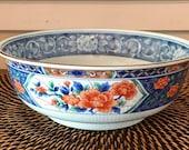 Vintage Tiffany and Co. Imari Porcelain Bowl Gilded Rim Peony Motif Chinoiserie Japan Tiffany