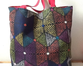 Large canvas tote bag strong geometric pattern