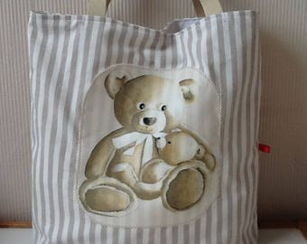 Linen baby Teddy application lined white cotton